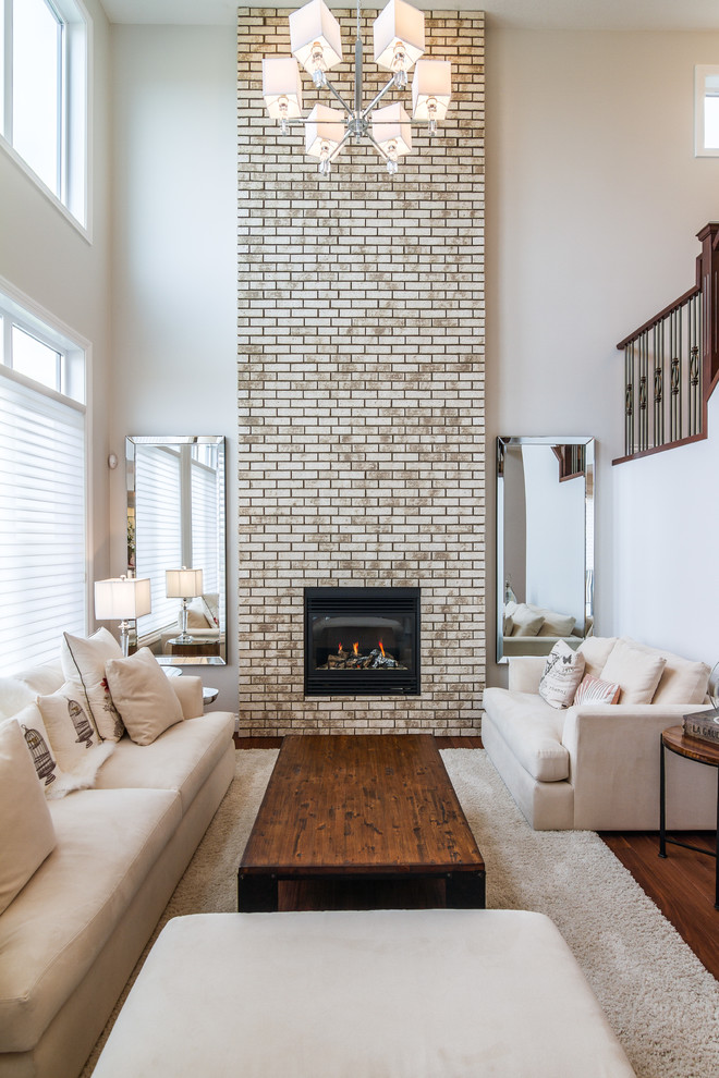 Fireplaces in a rooms with a high ceilings Brick fireplace wall decorating ideas