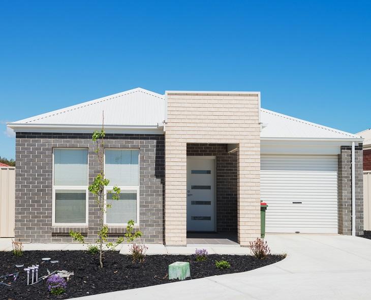 typical facade of a modern suburban house